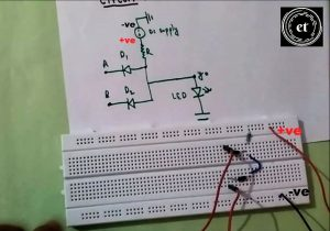 Connect the 9v battery to the AND gate using diodes