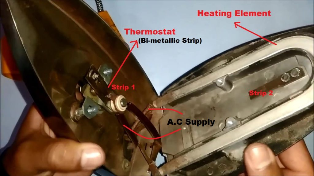 Components inside the Electric Iron