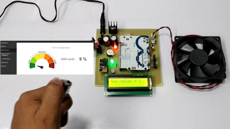 LPG detector with auto exhaust IoT project