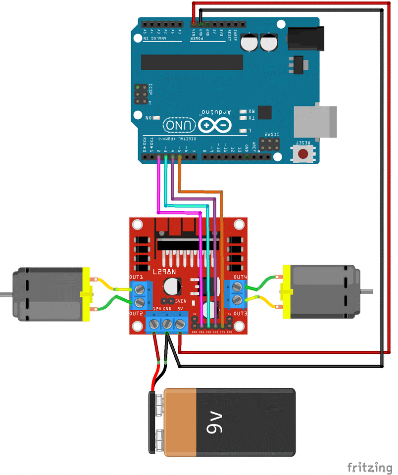 Circuit connections of Arduino with L298N