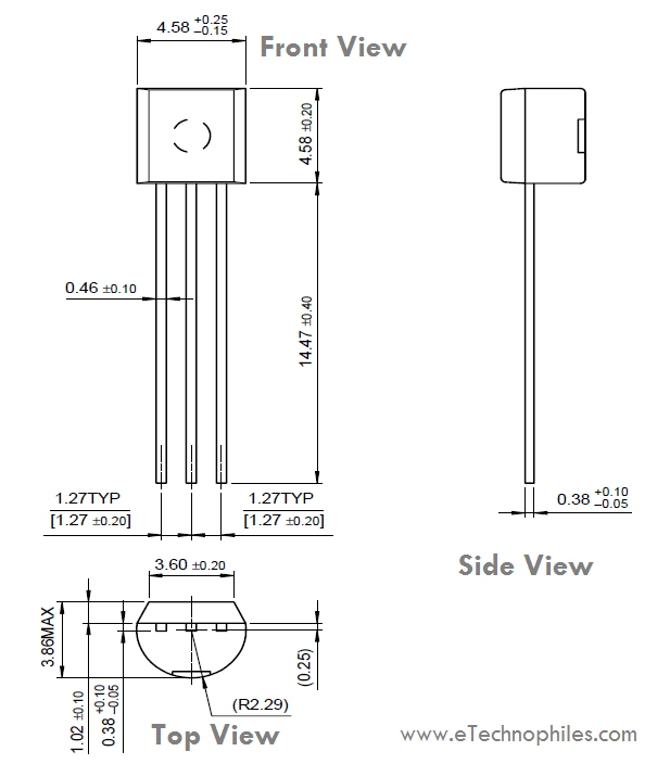 BC547 transistor package dimensions