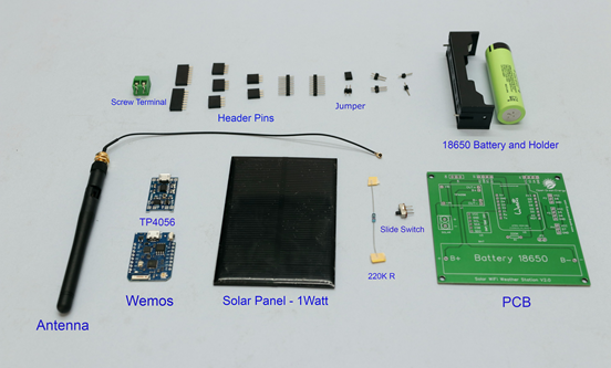 Components used in Solar Powered WI-FI Weather Station
