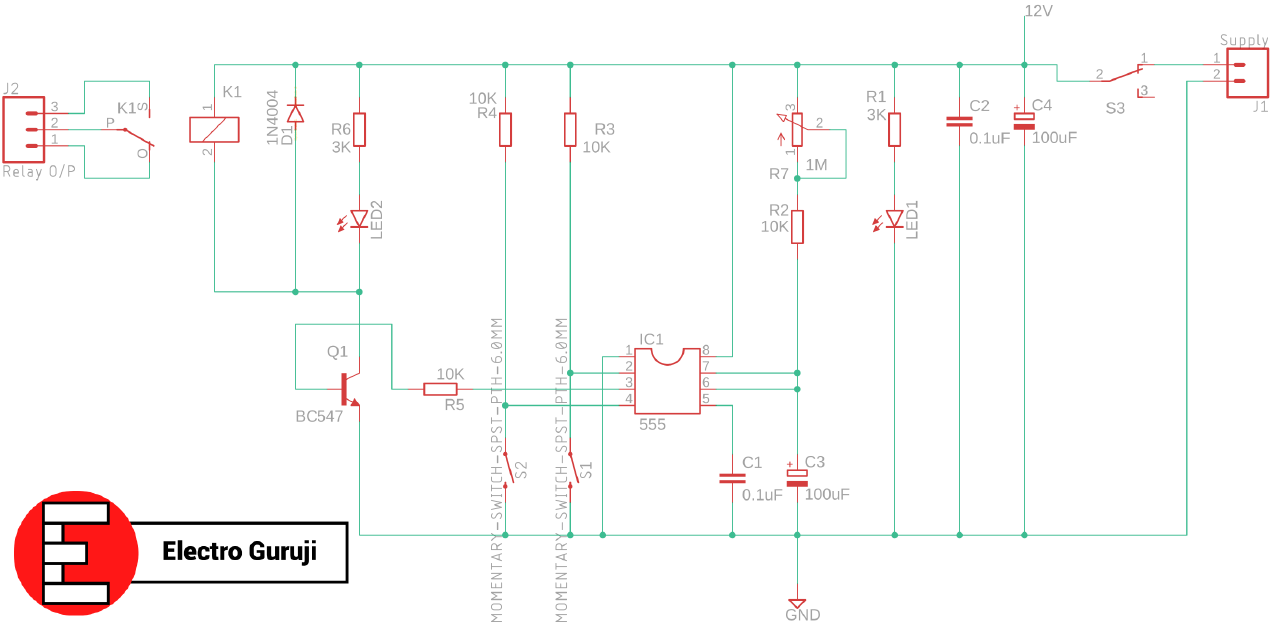 Schematic of adjustable 555 timer switch