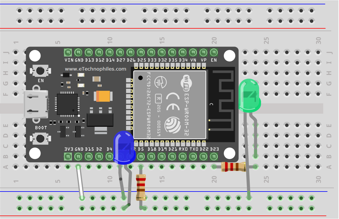Circuit diagram of ESP32 Blinking LED project
