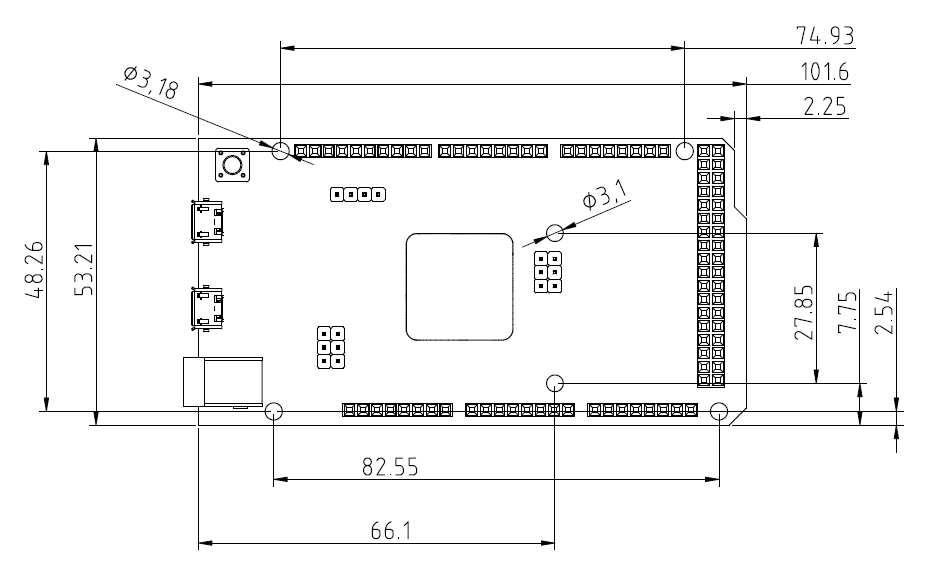 Dimensions of Arduino Due