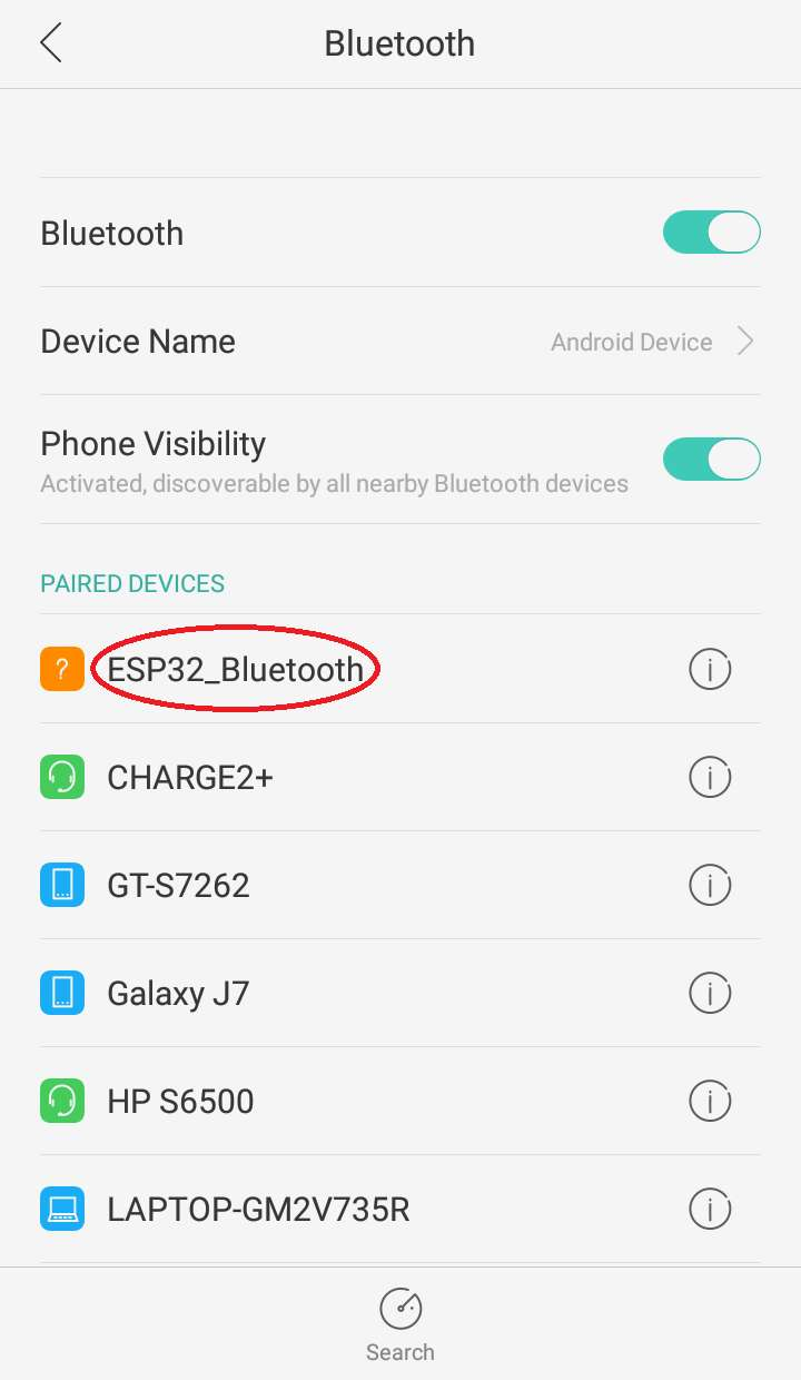 Pairing up the ESP32 board with mobile device using bluetooth module