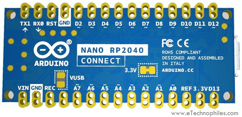 Back view of Arduino Nano RP2040 Connect
