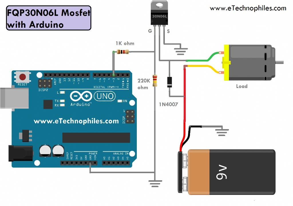 DC motor speed control circuit using FQP30N06L Mosfet with Arduino