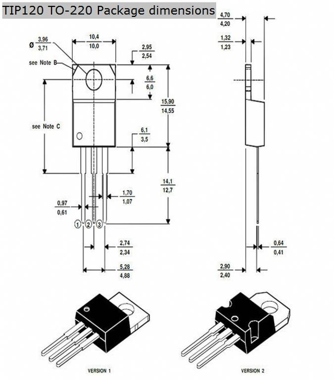 TIP120 Transistor physical dimensions